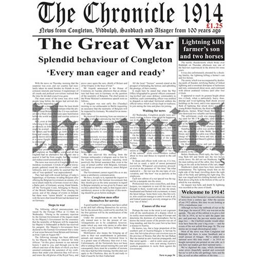 1914 Edition of the Congleton Chronicle