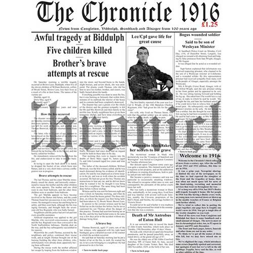 1916 Congleton Chronicle front cover