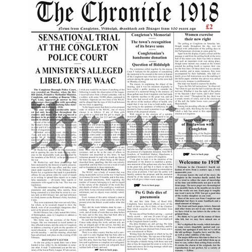 1918 Congleton Chronicle front cover