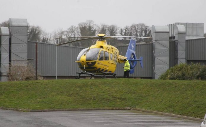 The North West Air Ambulance photographed on a previous landing at Airbags in Congleton.