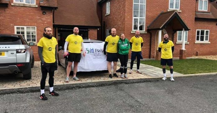 Running the Dash for Ash: from left, Dean, Alex and Liam Bedson, Laura Hughes, Mark Bateman and Jake Attwood.