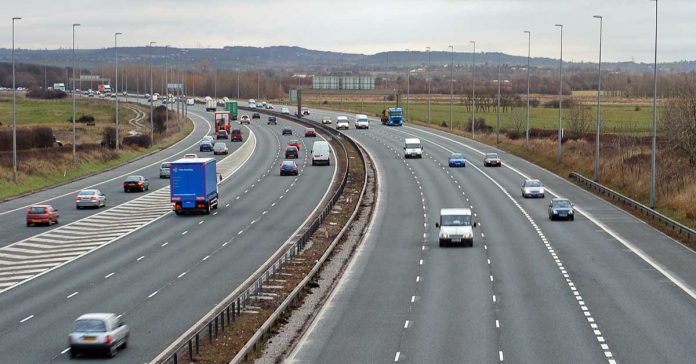Traffic on the M6 motorway at Sandbach, near to Junction 17.