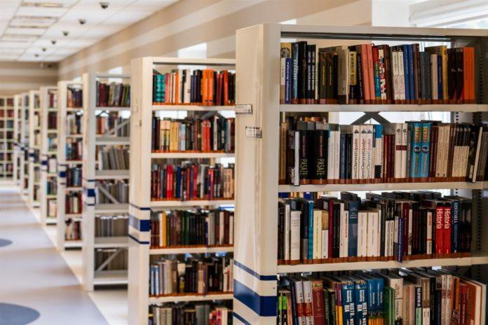 Library shelves.