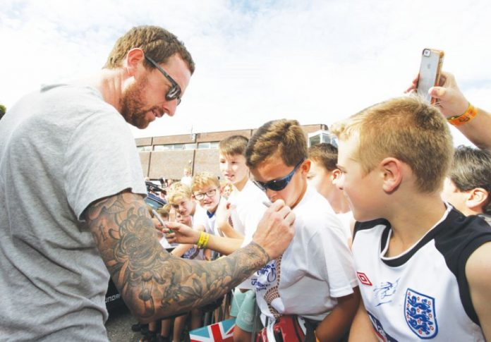 Sir Bradley Wiggins meets fans in Congleton on a previous Tour of Britain.
