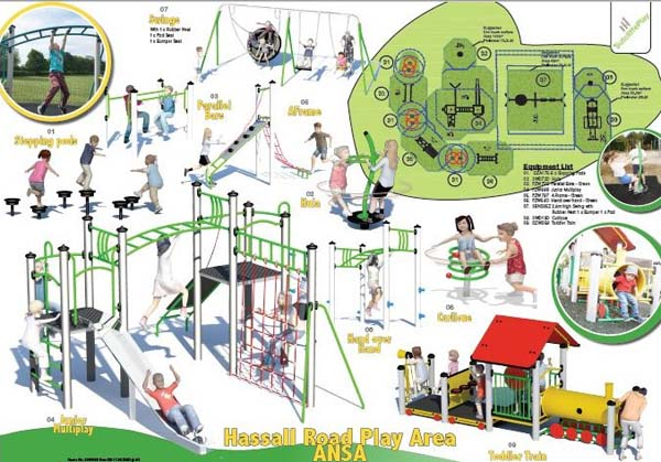 A drawing of the planned changes for Hassall Road play area.