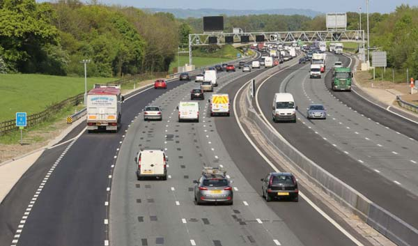 Traffic on the M6 motorway.