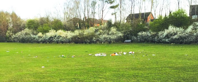 Litter left at Astbury Mere Country Park.
