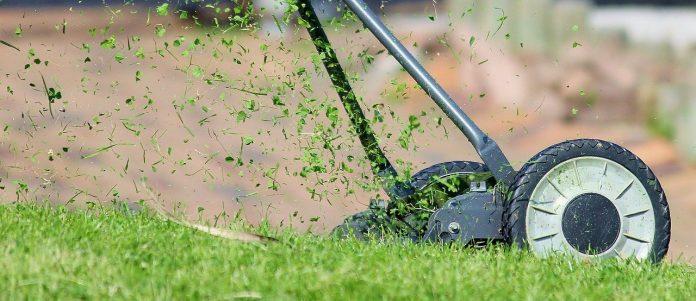 A lawn mower cutting grass.