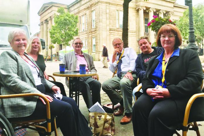 From left, outside Macclesfield Town Hall following Thursday's meeting are, Mrs Nevitt, Coun Helliwell, Mr Brooks, Conservative Coun Steve Edgar, who represents Haslington Ward, Mr Poole and Wybunbury Coun Janet Clowes, leader of the Conservative Group at Cheshire East.